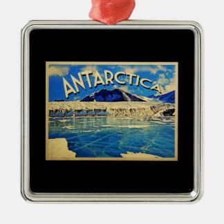De vintage Antarctis van Antarctica Zilverkleurig Vierkant Ornament