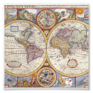 De vintage Antiek Oude cartografie van de Kaart Foto Afdruk