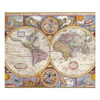 De vintage Antiek Oude cartografie van de Kaart Foto Print