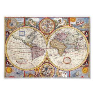 De vintage Antiek Oude cartografie van de Kaart Fotoafdruk