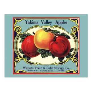 De vintage Appelen van de Vallei van Yakima van de Briefkaart