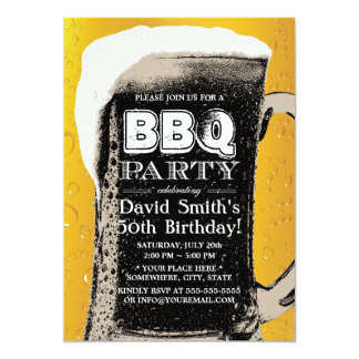 De vintage BBQ vijftigste van het Bier Partij van 12,7x17,8 Uitnodiging Kaart
