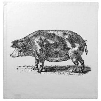 De vintage Binnenlandse Illustratie van het Varken Katoenen Servet