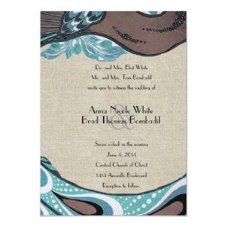 De vintage Blauwe Uitnodiging van het Huwelijk van