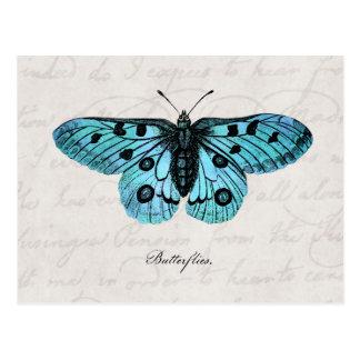 De vintage Blauwgroen Blauwe Illustratie van de Briefkaart
