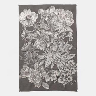 De vintage Bloemen Moderne Grijze Botanische Theedoek