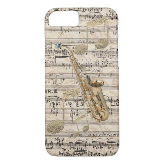 De vintage BloemenSaxofoon van de Muziek van het iPhone 8/7 Hoesje