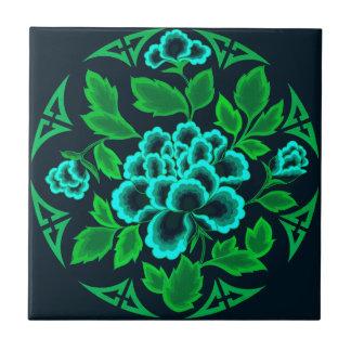 De vintage BloemenTegel van het Ontwerp Tegeltje Vierkant Small