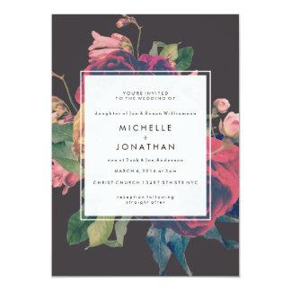 De vintage BloemenUitnodiging van het Huwelijk van 12,7x17,8 Uitnodiging Kaart