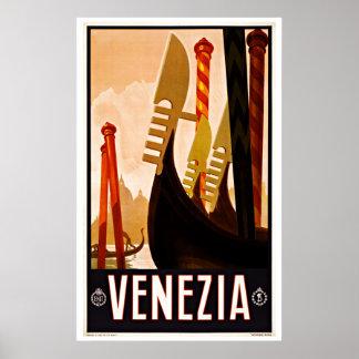 De vintage Boot van de Gondel van Venezia Italië Poster