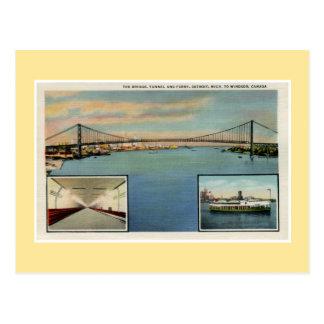 De vintage brug van Detroit aan Windsor Canada Briefkaart