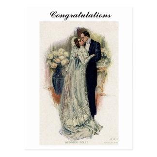 De vintage Bruid en de Bruidegom van de Klokken Briefkaart