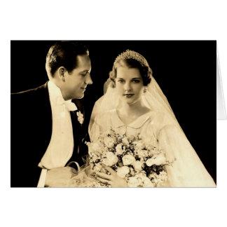 De vintage Bruid en de Bruidegom van het Huwelijk Briefkaarten 0