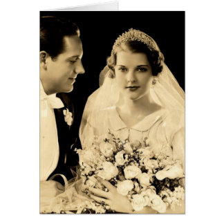 De vintage Bruid en de Bruidegom van het Huwelijk Kaart