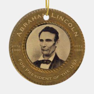 De Vintage Campagne van Abraham Lincoln Rond Keramisch Ornament