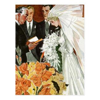 De vintage Ceremonie van het Huwelijk met Bruid en Briefkaart