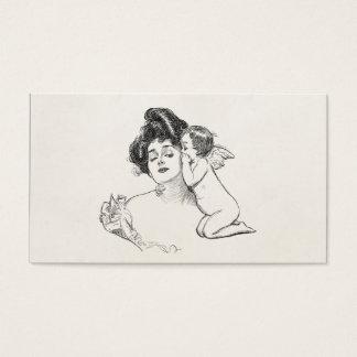 De vintage Cherubijn van het Baby van de Vrouw van Visitekaartjes