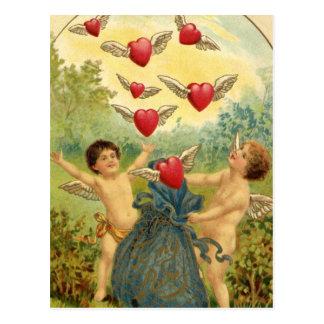 De vintage Cherubijnen en de Harten van Valentijn Briefkaart