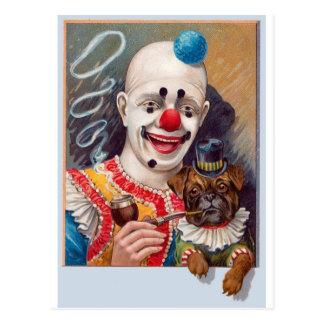 De vintage Clown van het Circus met zijn Pug van Briefkaart