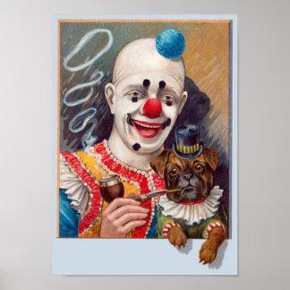 De vintage Clown van het Circus met zijn Pug van Poster