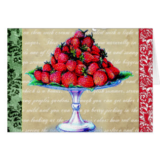 De vintage Collage van Aardbeien Kaart