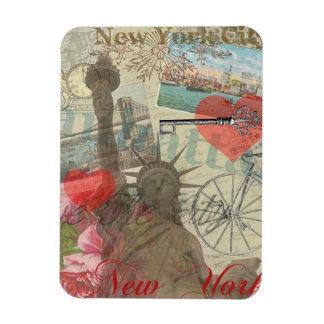 De vintage Collage van de Stad van New York Magneet