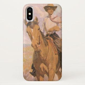 De vintage Cowboy van de Veedrijfster, Vrouw op iPhone X Hoesje