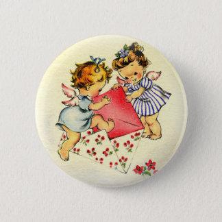 De vintage Cupido's die van Valentijn ~ Twee Hun Ronde Button 5,7 Cm