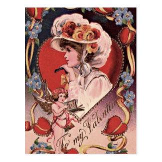 De vintage Dame van Valentijn Briefkaart