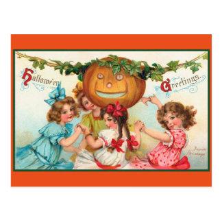 De vintage Dansers van Halloween Briefkaart