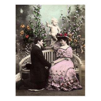 De vintage Datum van Valentijn Briefkaart
