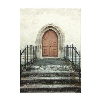 De vintage Deur van de Kerk Canvas Afdruk