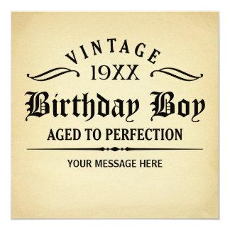 De vintage die Whisky aan de Verjaardag van de 13,3x13,3 Vierkante Uitnodiging Kaart