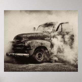 De vintage Doorsmelting van de Vrachtwagen Poster