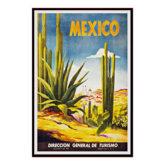 De vintage Druk Groot Mexico van het Poster