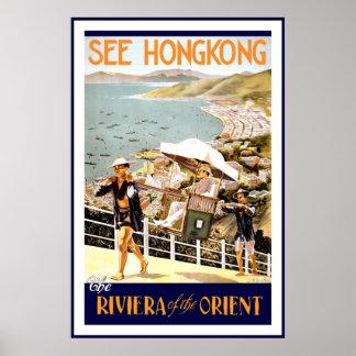 De vintage Druk Hong Kong Riviera van het Poster o