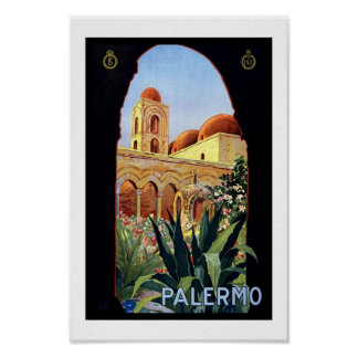De vintage Druk Palermo Sicilië van het Poster