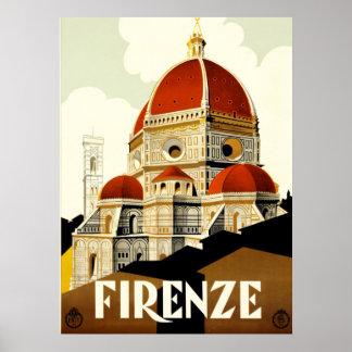 De vintage Druk van Italië van Florence van de Poster