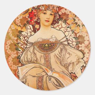 De vintage Druk van Mucha van de Jugendstil Ronde Sticker
