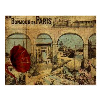 De vintage Druk van Parijs Briefkaart