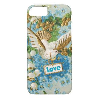 De vintage duif blauwe witte bloemen van de Liefde iPhone 7 Hoesje