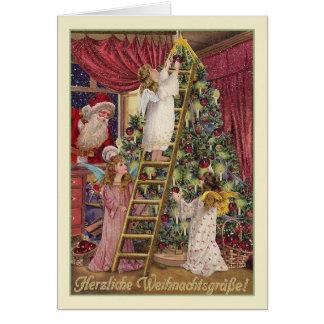 De vintage Duitse Kerstkaart van Engelen Kaart