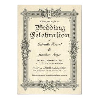 De vintage Elegante Uitnodigingen van het Huwelijk