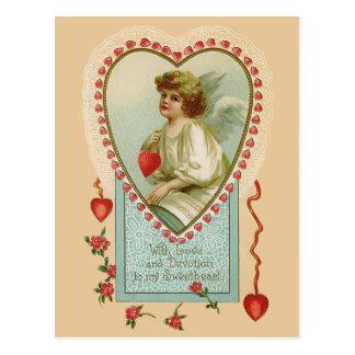 De vintage Engel en het Hart van Valentijn Briefkaart