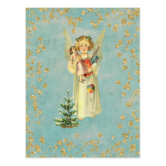 De vintage Engel van Kerstmis Briefkaart