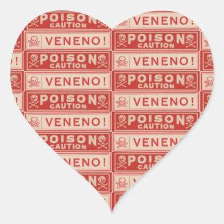 De vintage Etiketten van het Vergift Hart Sticker