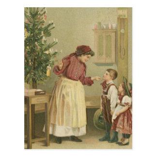 De vintage Familie van Kerstmis Briefkaart