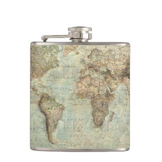 De vintage Fles van de Kaart van de Wereld Heupfles