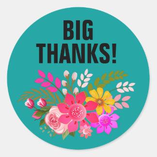 De vintage Folklore Bloemen dankt u het blauwgroen Ronde Sticker