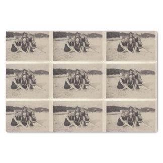 De Vintage Foto van de Groep 1920 van het strand Tissuepapier